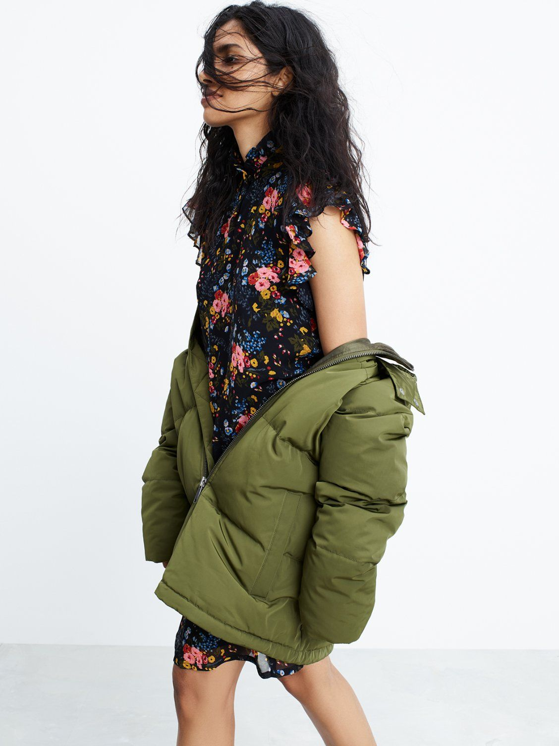 a0bc18b49db madewell x no.6 silk beacon dress worn with the quilted down puffer ...