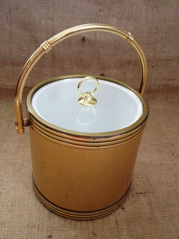 Vintage Gold Ice Bucket Mad Men Ice Bucket Gold by ChattCatVintage