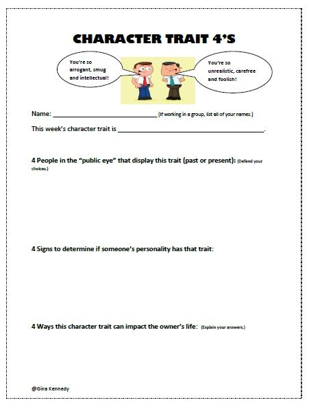 Free Weekly Critical Thinking Character Traits Activity Free Printable And No Teacher Prep Critical Thinking Skills Teacher Prep Thinking Skills