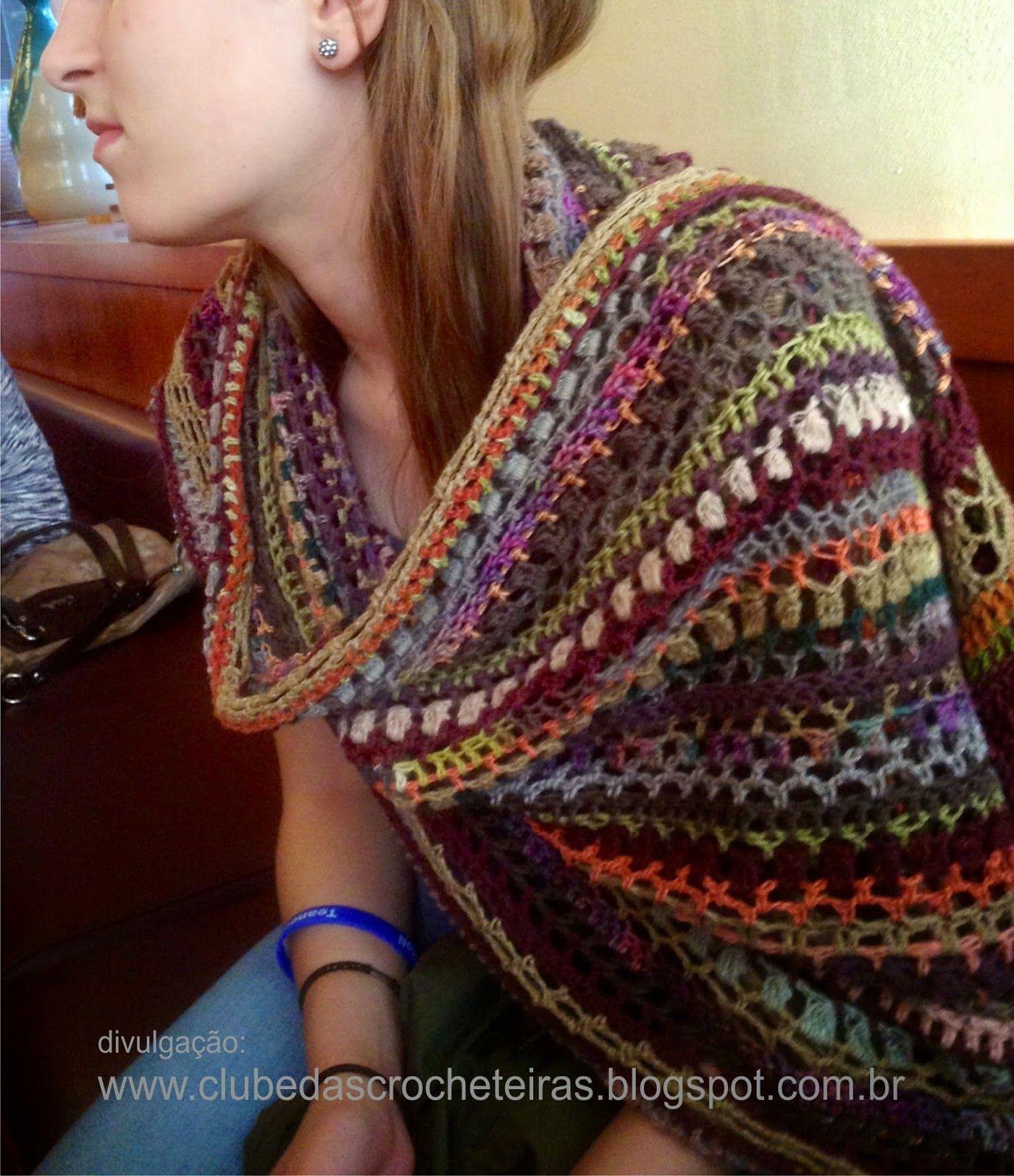 CLUBE DAS CROCHETEIRAS: cachecol de crochê colorido   Crochês ...