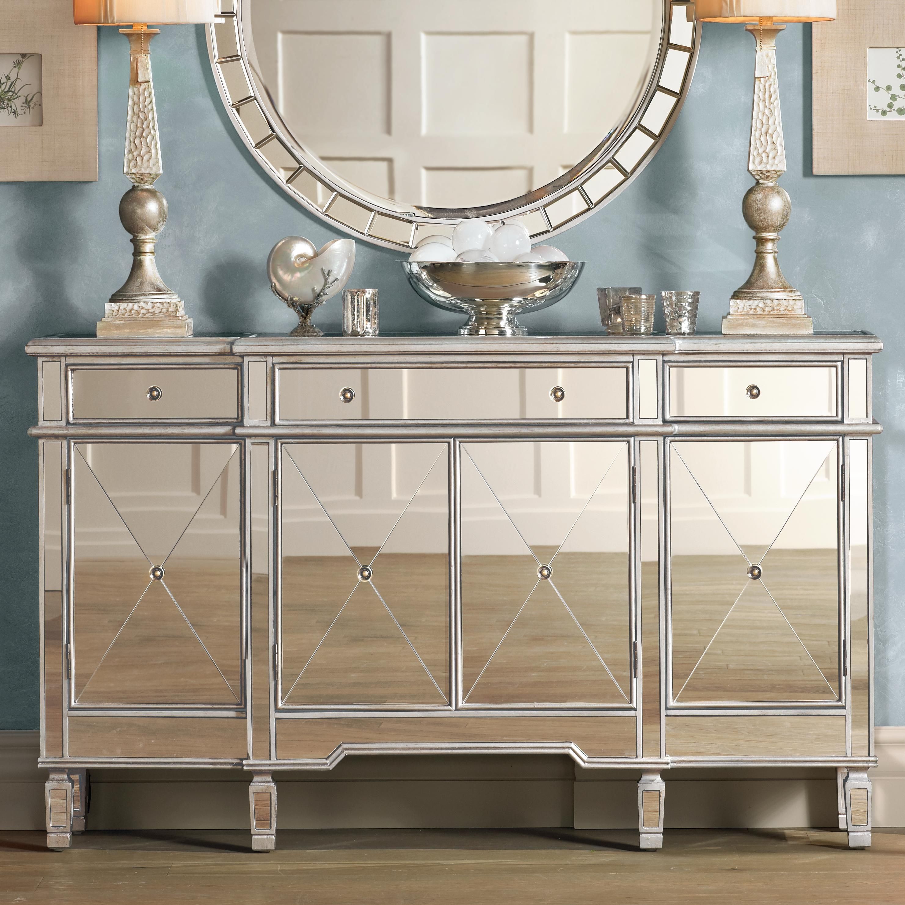Hailey Mirrored Console Chest Mirrored Furniture