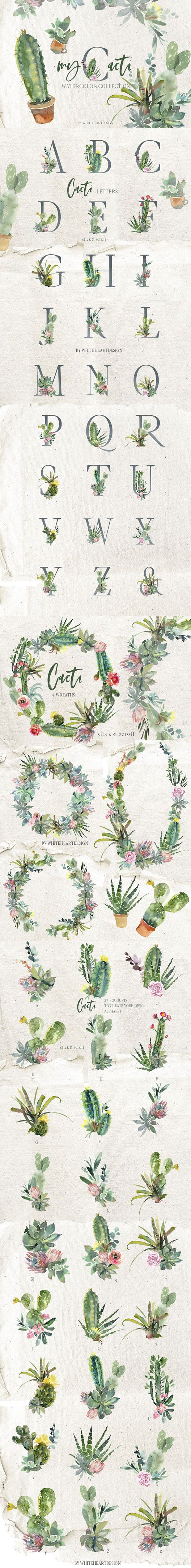 Cacti watercolor clipart & font collection of pretty