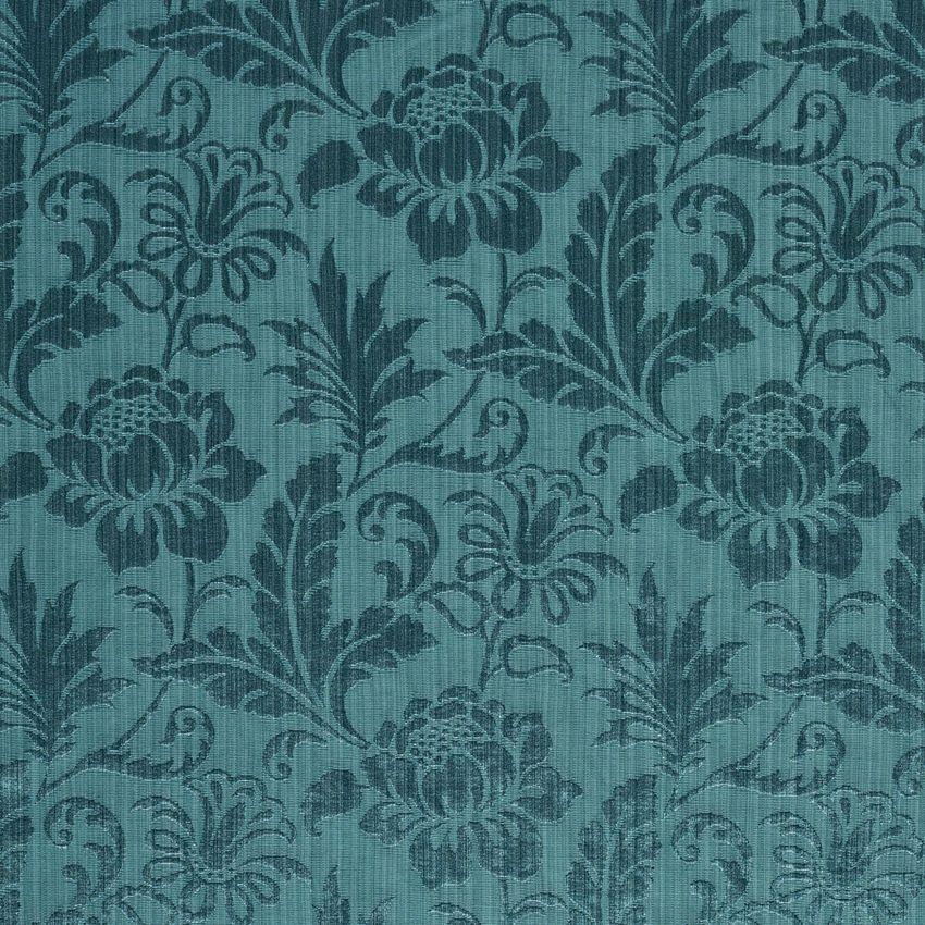 Aqua Tone On Tone Floral And Leaf Damask Upholstery Fabric