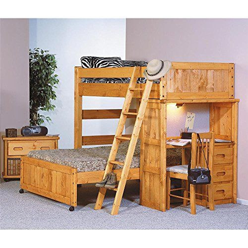 Amazon Com Chelsea Home Twin Over Full Loft Bed W Desk End In Cinnamon Home Kitchen Bunk Bed With Desk Twin Loft Bed Loft Bed