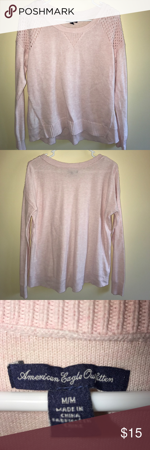 American Eagle Woman's Sweater Size Medium American Eagle Woman's size medium sweater. Light pink. Excellent condition. American Eagle Outfitters Sweaters Crew & Scoop Necks