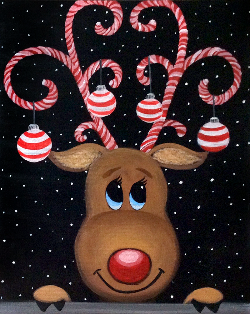 On December 13Th You Will Learn To Paint This Adorable Candy Cane Reindeer At Graffiti Paintbars Family Paint Session This One Is My Favorite