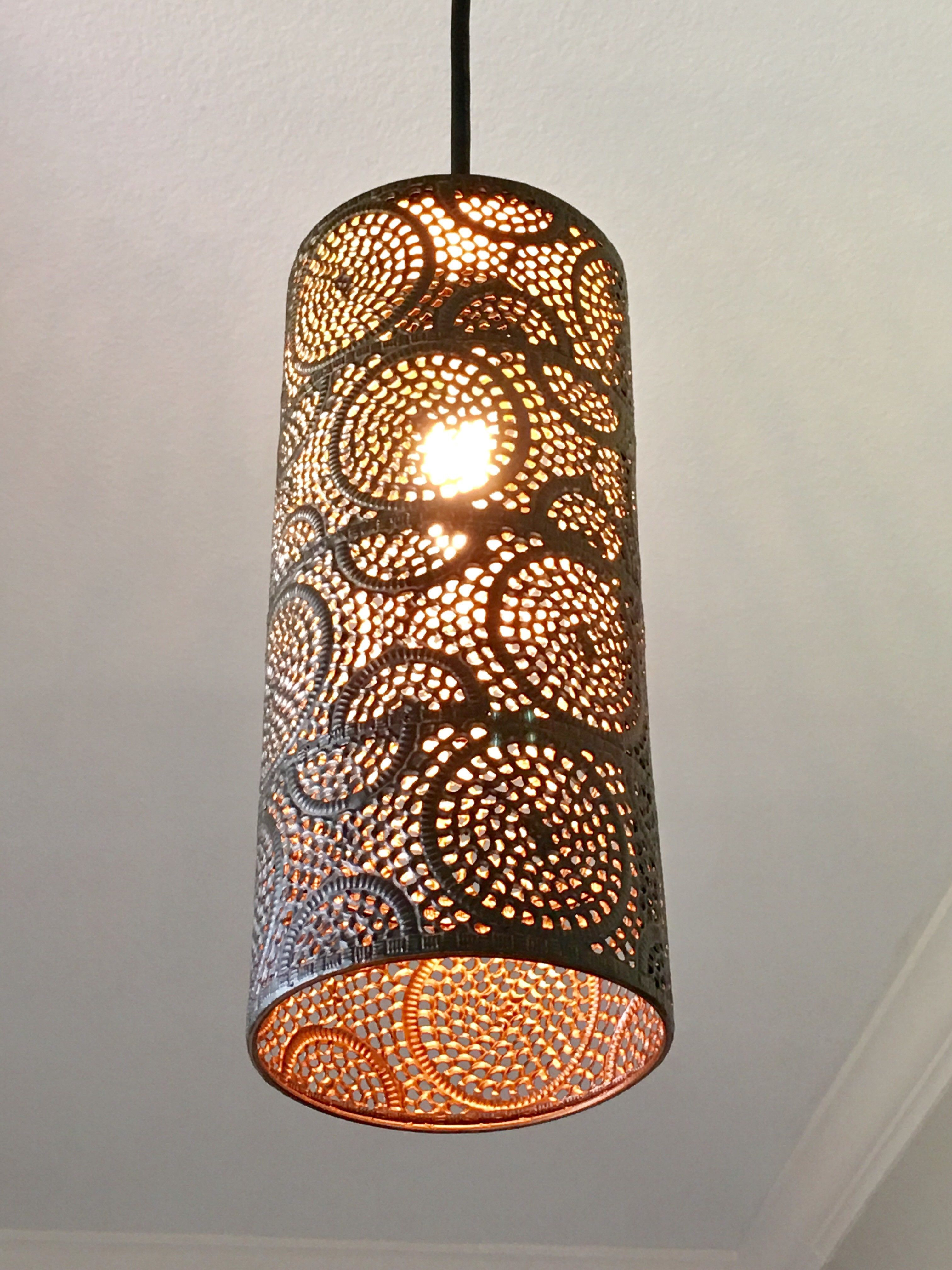 Scrollwork Punched Metal Pendant Light Metal Pendant Light