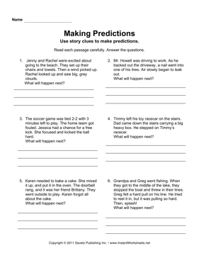 Making Predictions — Instant Worksheets | Education | Making ...