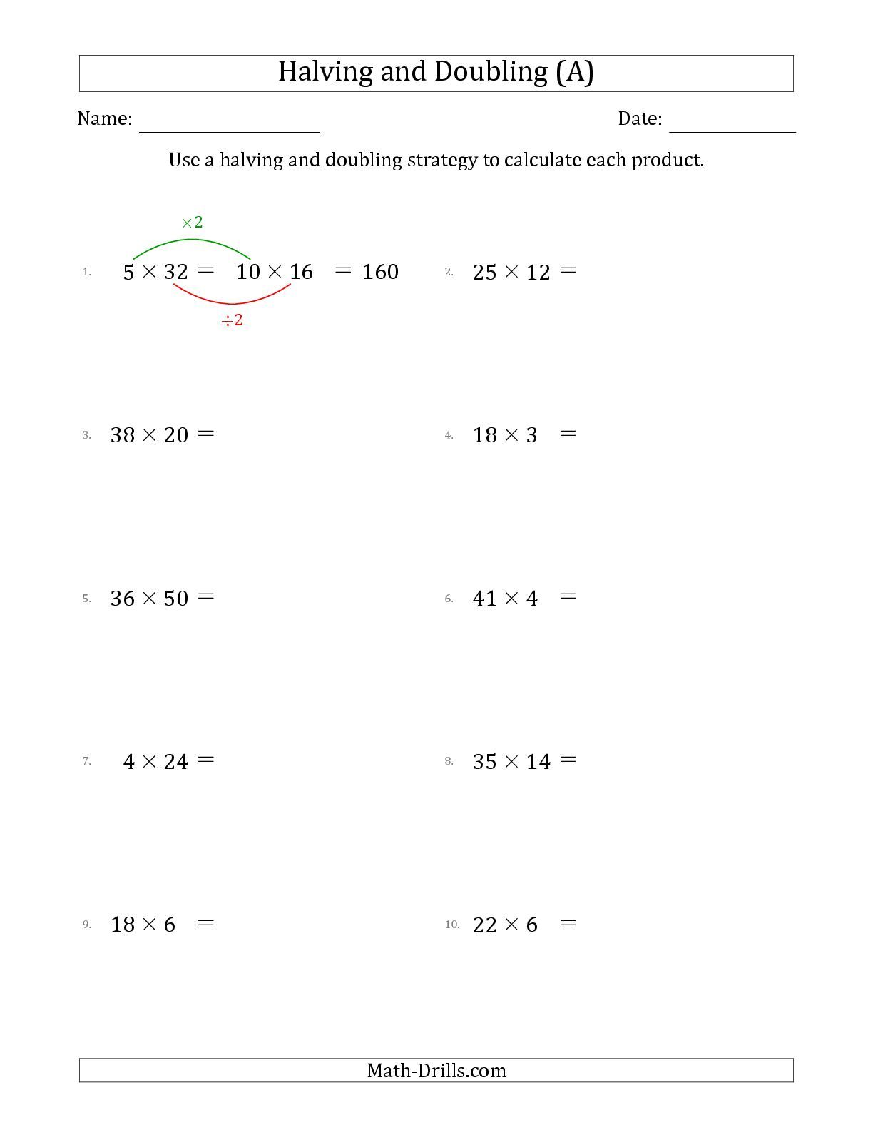 The Halving And Doubling Strategy With Harder Questions A Multiplication Facts Worksheets Multiplication Multiplication Strategies