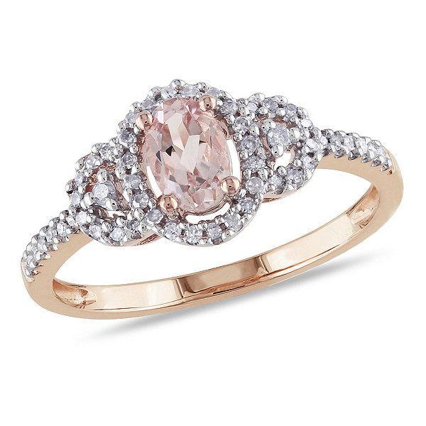 10K Rose Gold Morganite & Diamond Ring