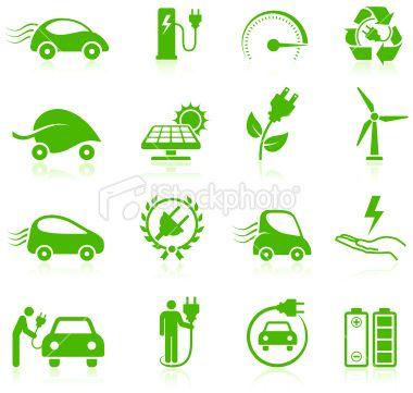 Electric Car Environmental Icons Collection Icons Car Logo