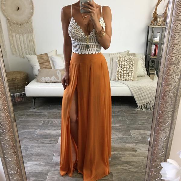 403f21d883b2 Chiffon Orange Maxi Skirt