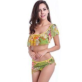 Women Fashionable Swimsuit Multicolor Pattern One-shoulder Backless Multi-green Swimwear