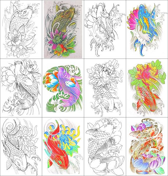 Well Pull Out The Markers Or Colored Pencils And Download These Beautiful Digital Coloring Book Pages 24 Images Of Koi Carp With Flowers Presented In