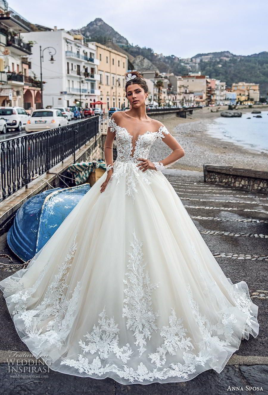 9e9a497e5a73 anna sposa 2019 bridal long sheer sleeves illusion bateau deep plunging  sweetheart neckline heavily embellished bodice