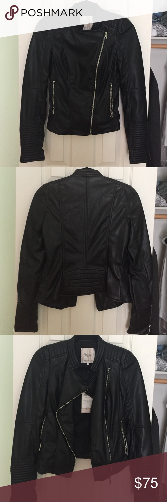 Zara black leather motorcycle jacket XS 2015 Zara black fake leather jacket, super soft and comfortable, sleeves are super long and slimming. Fully lined. 2 fully functional outer zipper pockets and ribbed detailing on shoulders and sleeves. Cut higher in back to accentuate waist and show off the booty. Tags still attached, I never wore this Zara Jackets & Coats Blazers