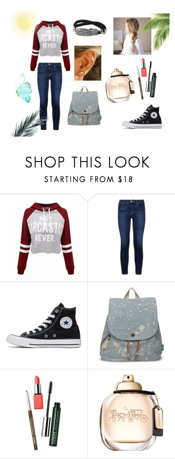 """N°51"" by carmis-leon on Polyvore featuring moda, WithChic, Hudson, Converse, TOMS y Clinique"