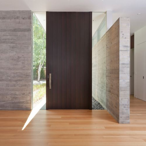 10 Foot Tall Door With Glass Panels On Each Side Modern Entry House Entrance Doors Interior Architecture Design