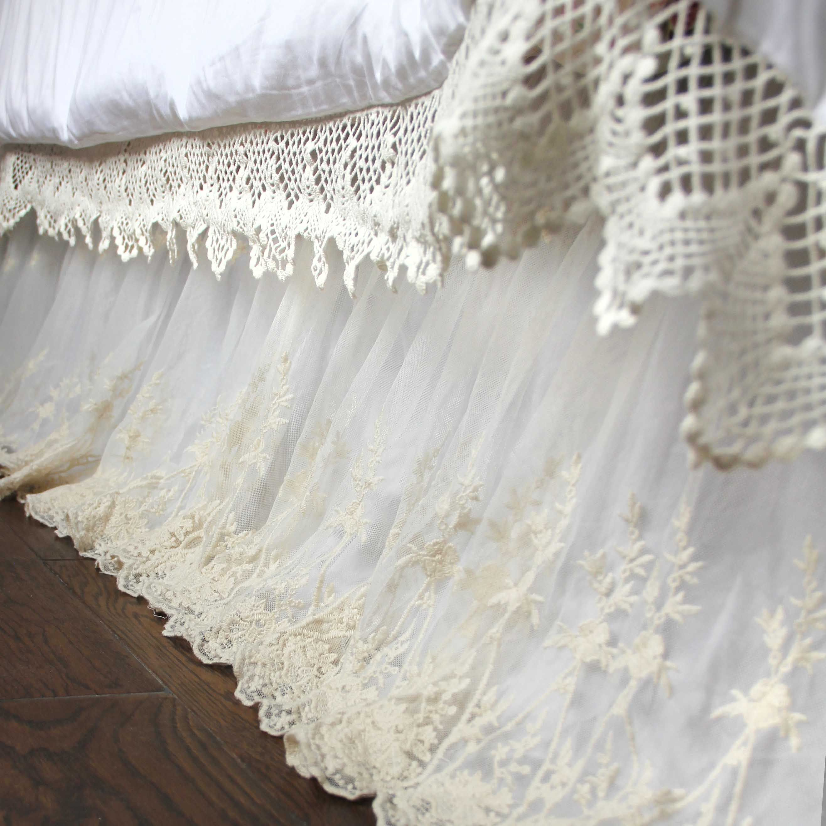 Luxury White Lace Love Bed Skirt Dust Ruffle Shabby Chic Linen Cottage