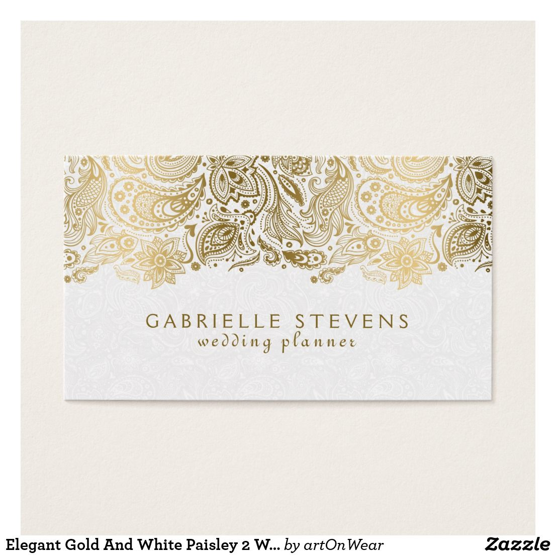 Elegant Gold And White Paisley 2 Wedding Planner Business Card Vintage Fl Lace In Yellow Over Damask Pattern