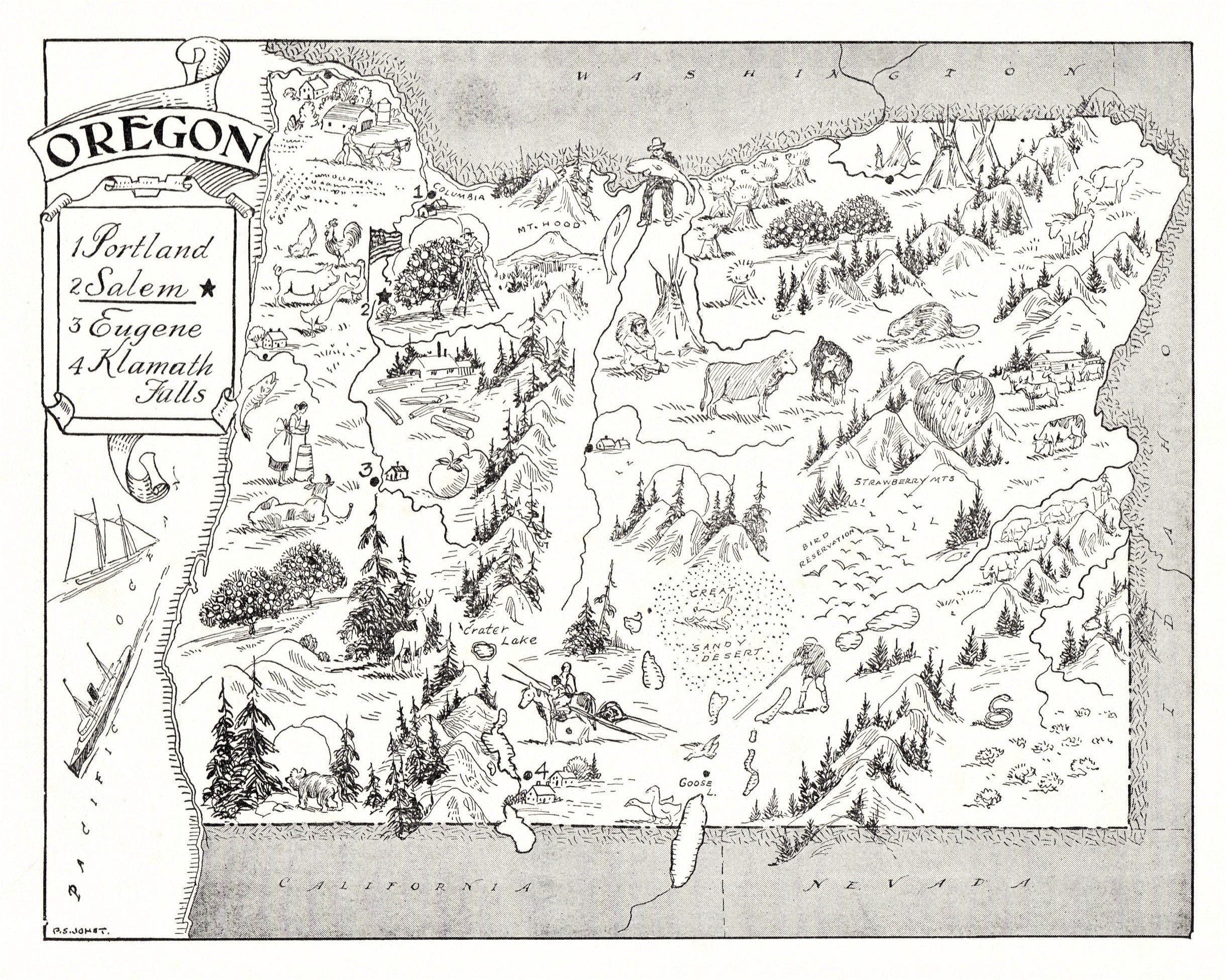 Old Map of Oregon State OREGON MAP PRINT Antique Map Print Vintage Map of Oregon Historical Wall Art