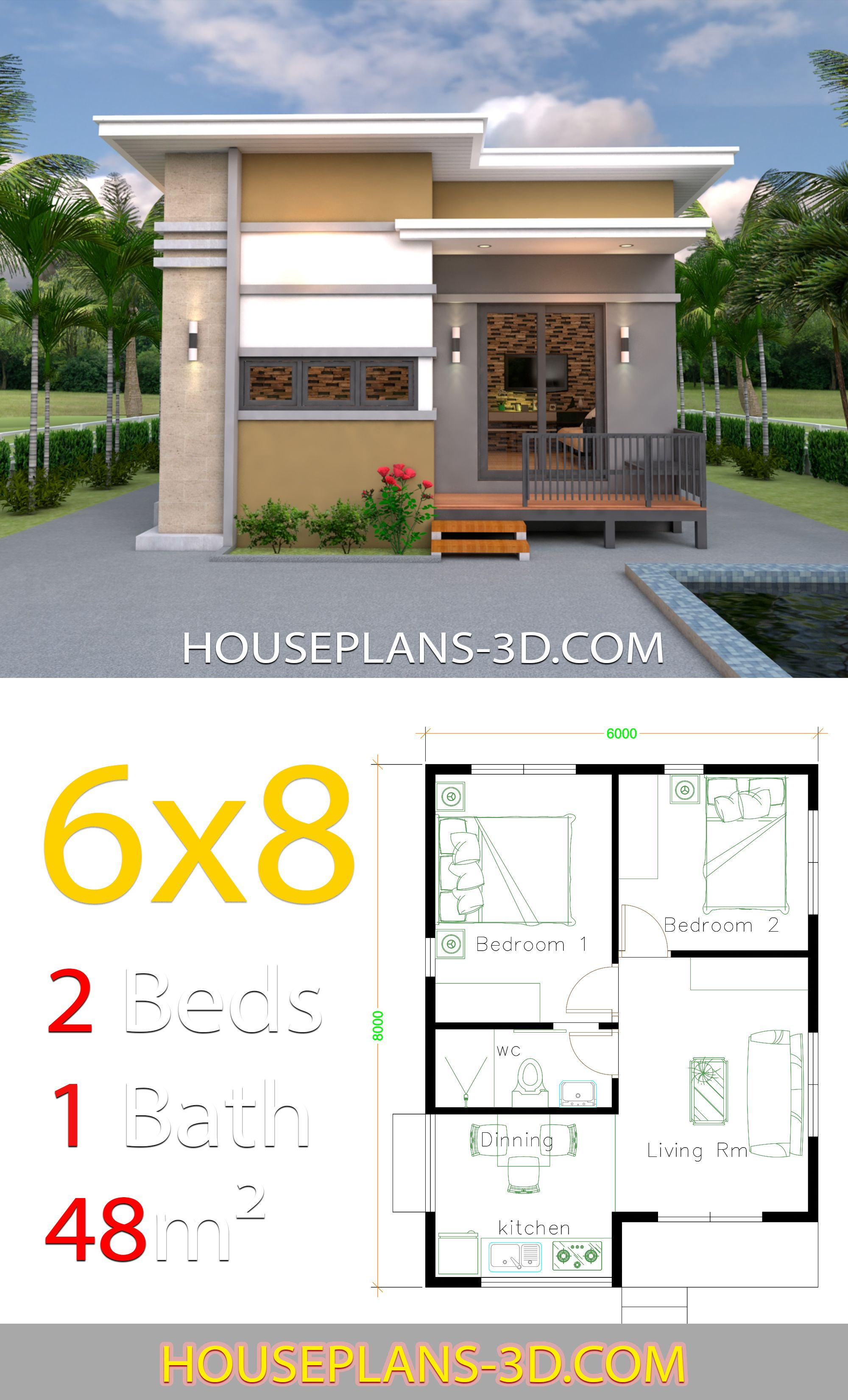 House Design 6x8 With 2 Bedrooms House Plans 3d Small House Design Plans 2 Bedroom House Plans Home Design Plans
