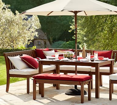 Chatham Rectangular Extending Dining Table Banquette Set Potterybarn