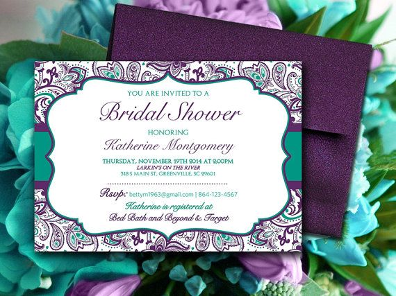 Bridal Shower Invitation Template - Teal Green Eggplant Plum - bridal shower invitation templates download