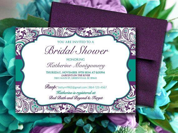 Bridal Shower Invitation Template Teal Green Eggplant Plum
