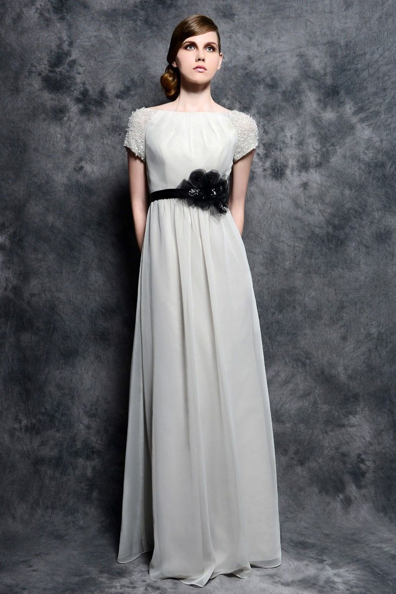 Graceful tank top floor length chiffon a line mother of the bride
