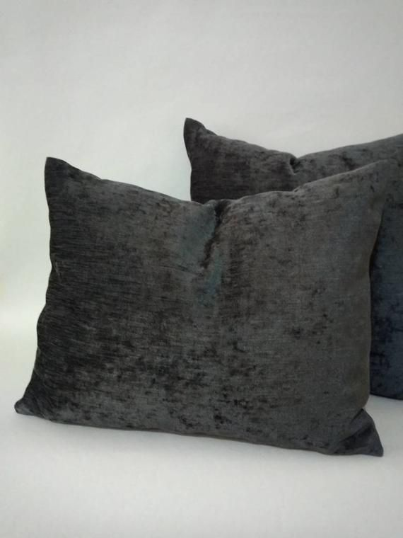 Charcoal gray pillow 24 x 24   dark