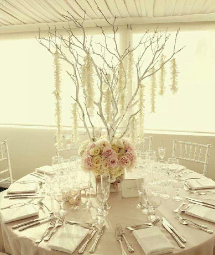 All White Beautiful Wedding Flowers White Branch Centerpiece Gorgeous Wedding