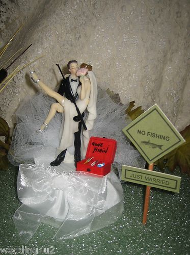 Funny wedding sexy bride sign fishing cake topper Fishing cakes