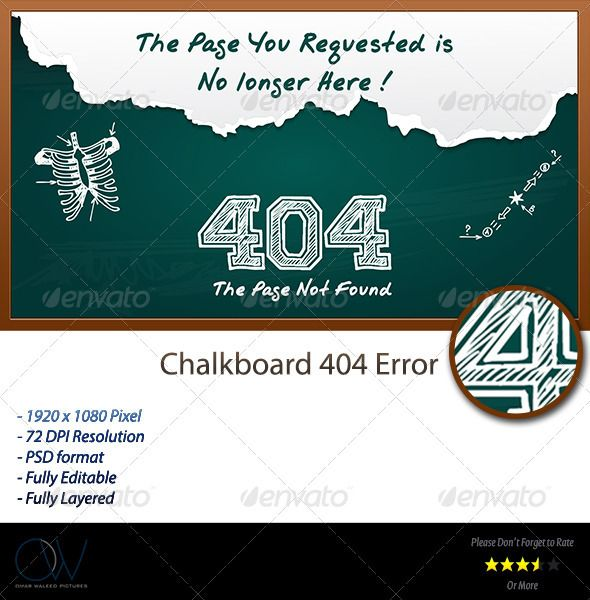 Chalkboard 404 Error Web Page Hand Fonts Menu Template