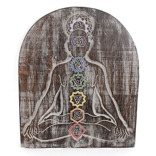 Meditation carved wooden Chakra Plaque