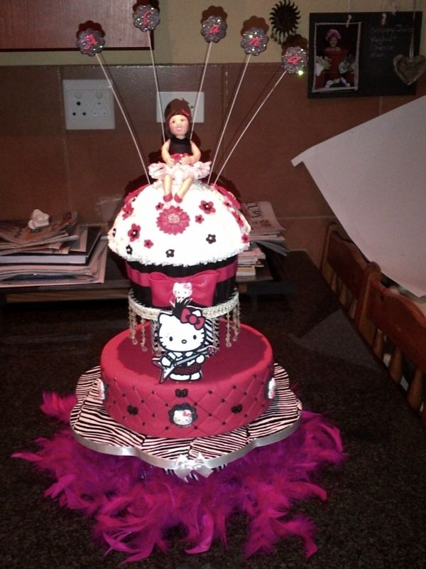 Hot Pink And Black Hello Kitty Cake Aaliyah Hello Kitty Cake