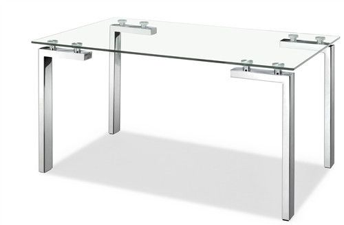 Executive Desk With Stainless Steel Frame And Glass Top