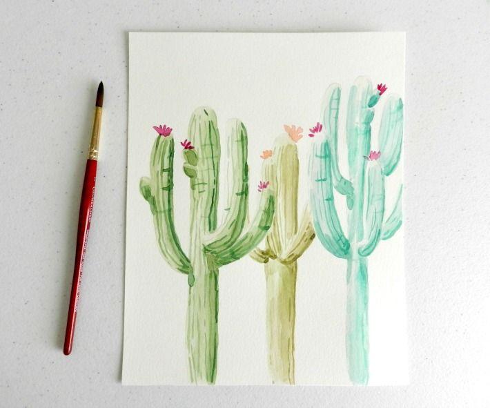 Watercolor cactus painting tutorial cacti watercolor for Painting on water tutorial