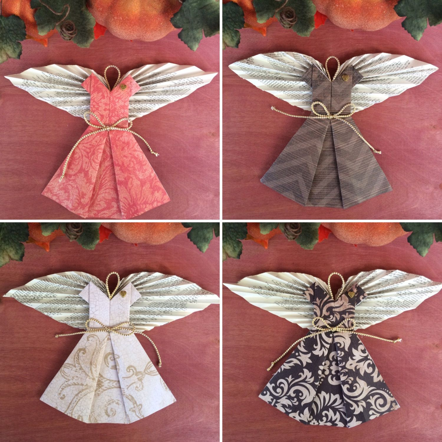 Fall Home Decor Ornament Angels With Book Page Wings