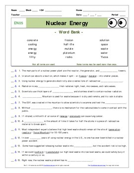 An 'Eyes of Nye' - Nuclear Energy –EN05- Worksheet, Ans Sheet, and ...