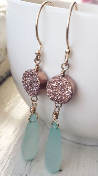 Aqua Blue Chalcedony with Rose Gold Druzy Dangle Earrings