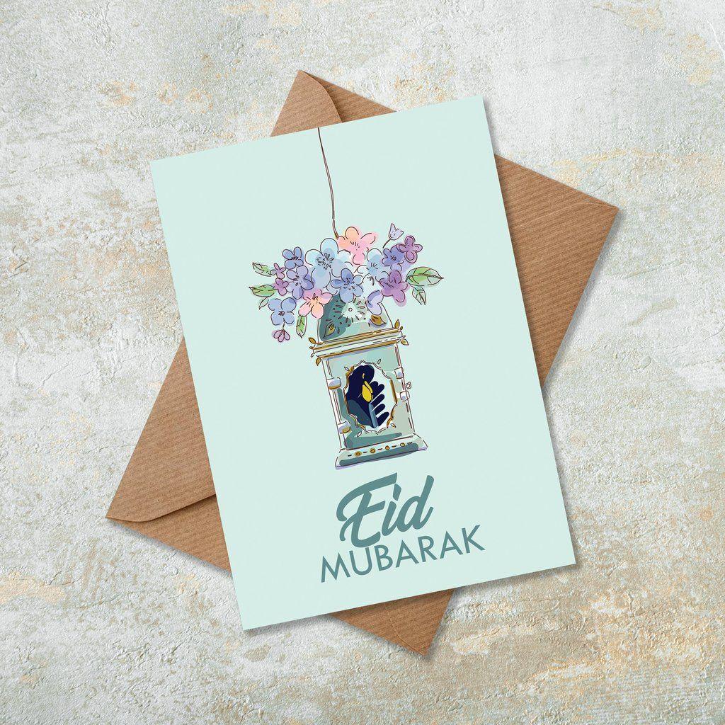 green floral eid mubarak islamic eid card in 2020  eid