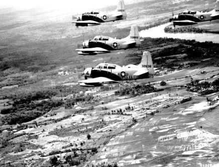A-1E Skyraider aeronaves del Grupo Táctico 34, basado en Bien Hoa, Vietnam del Sur, volar en formación sobre Vietnam del Sur en forma de apuntar el 25 de junio de 1965. (Fuerza Aérea de EE.UU. foto)