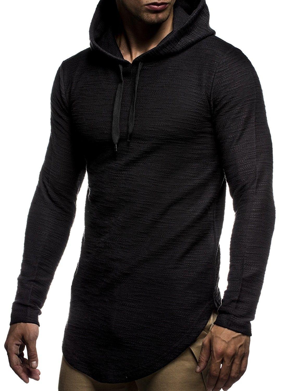 Men's Oversized Slim Fit Hoodie LN6300 Black
