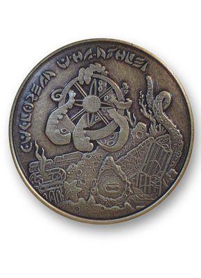 Antiqued Deep One Golden Challenge Coin   Mythos   World coins