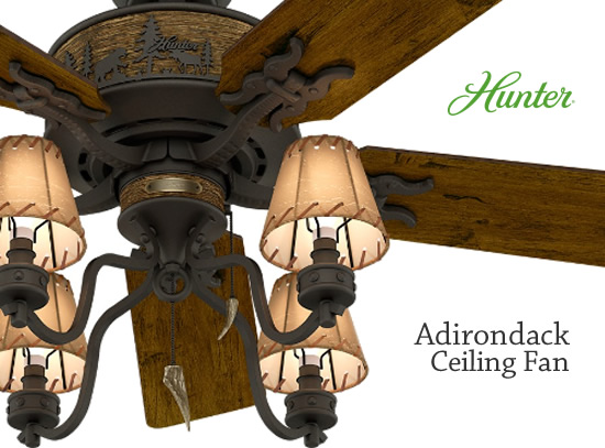 Hunter 59006 Adirondack Ceiling Fan Complete Fan Includes Blades And Light Kit With Shades Faux Antler Tip Pul In 2020 Rustic Ceiling Fan Rustic Ceiling Ceiling Fan