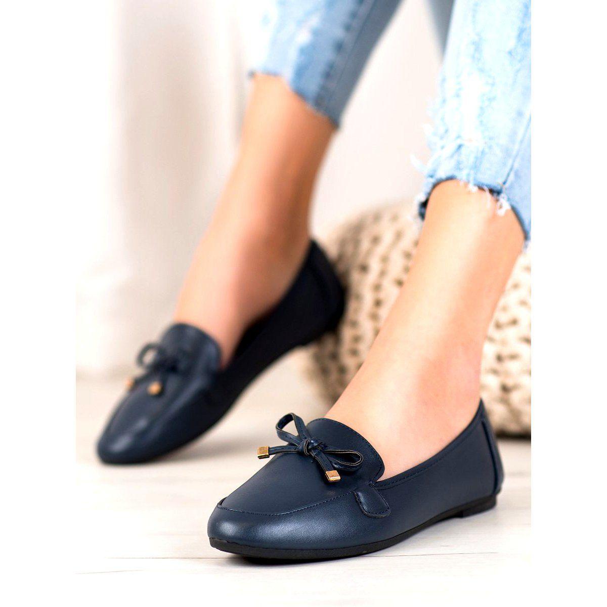 Clowse Eleganckie Granatowe Baleriny Niebieskie Shoes Mule Shoe Slippers