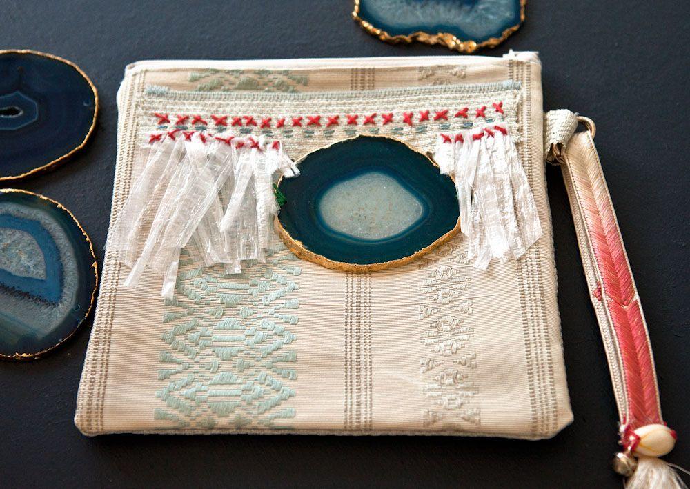 Embellished boho clutch Gold dipped agate slice and handstitched decoration.  Vintage Japanese Fabrics. BonVoyageEtoffe/Etsy