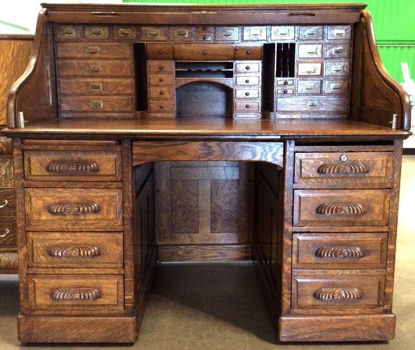Lot 2391 Antique Derby Tiger Oak Roll Top Desk C 1890 November 21