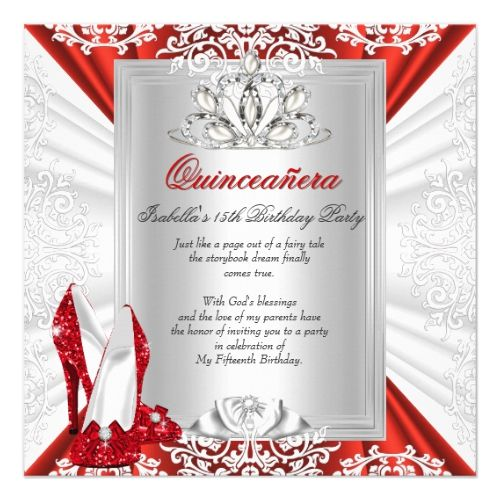 Glitter Quinceanera 15th Birthday Party Red Heels Card 15th